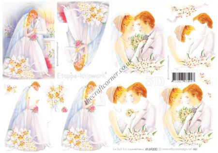 Beautiful Bride & Groom Wedding Design 3d Decoupage Sheet